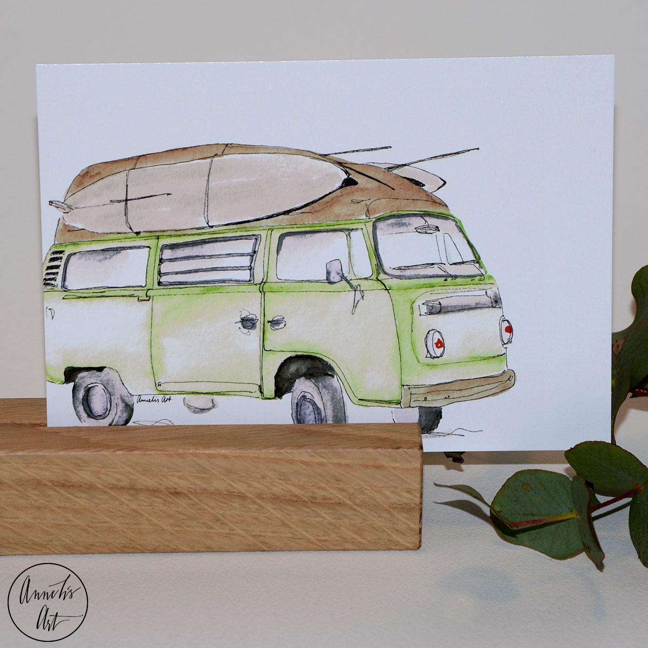 Postkarte   Bulli   Grüner Surfbulli