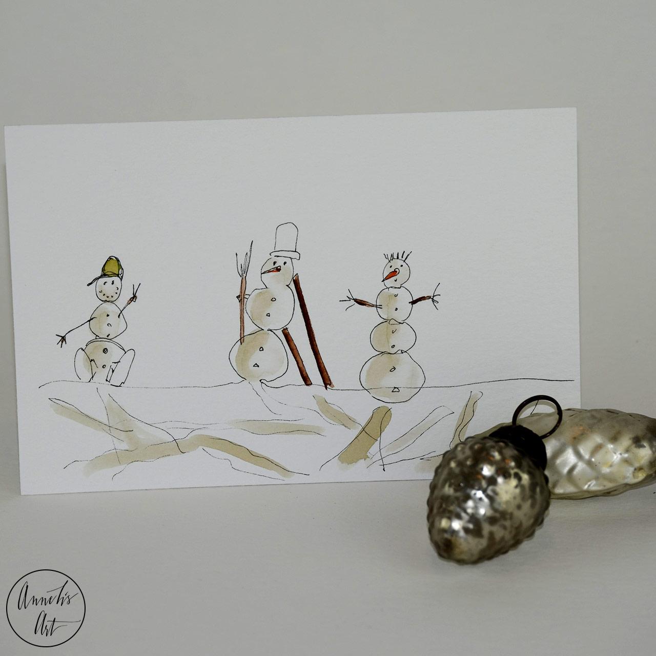 Weihnachtskarte - Die Schneemanngang | Grußkarte | Klappkarte mit Umschlag