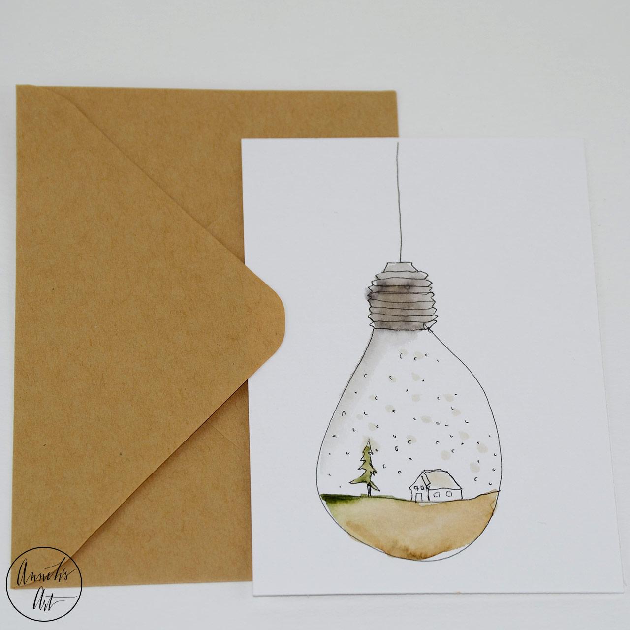 Weihnachtskarte - Schneeglühbirne   Klappkarte   Grußkarte mit Umschlag
