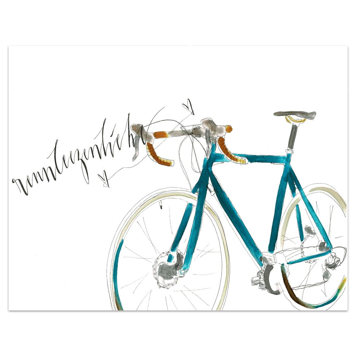 Original Aquarell | Personalisisertes Wandbild Motiv RENNRAD 2