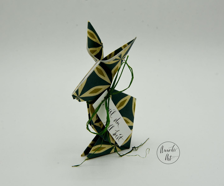 Origami-Osterhase   15 cm   weil du toll bist   Alma blau grün   dein individueller Schriftzug