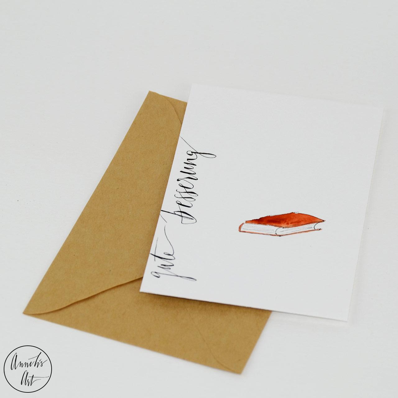 Grußkarte | Klappkarte mit Umschlag - Gute Besserung, rostrotes Buch