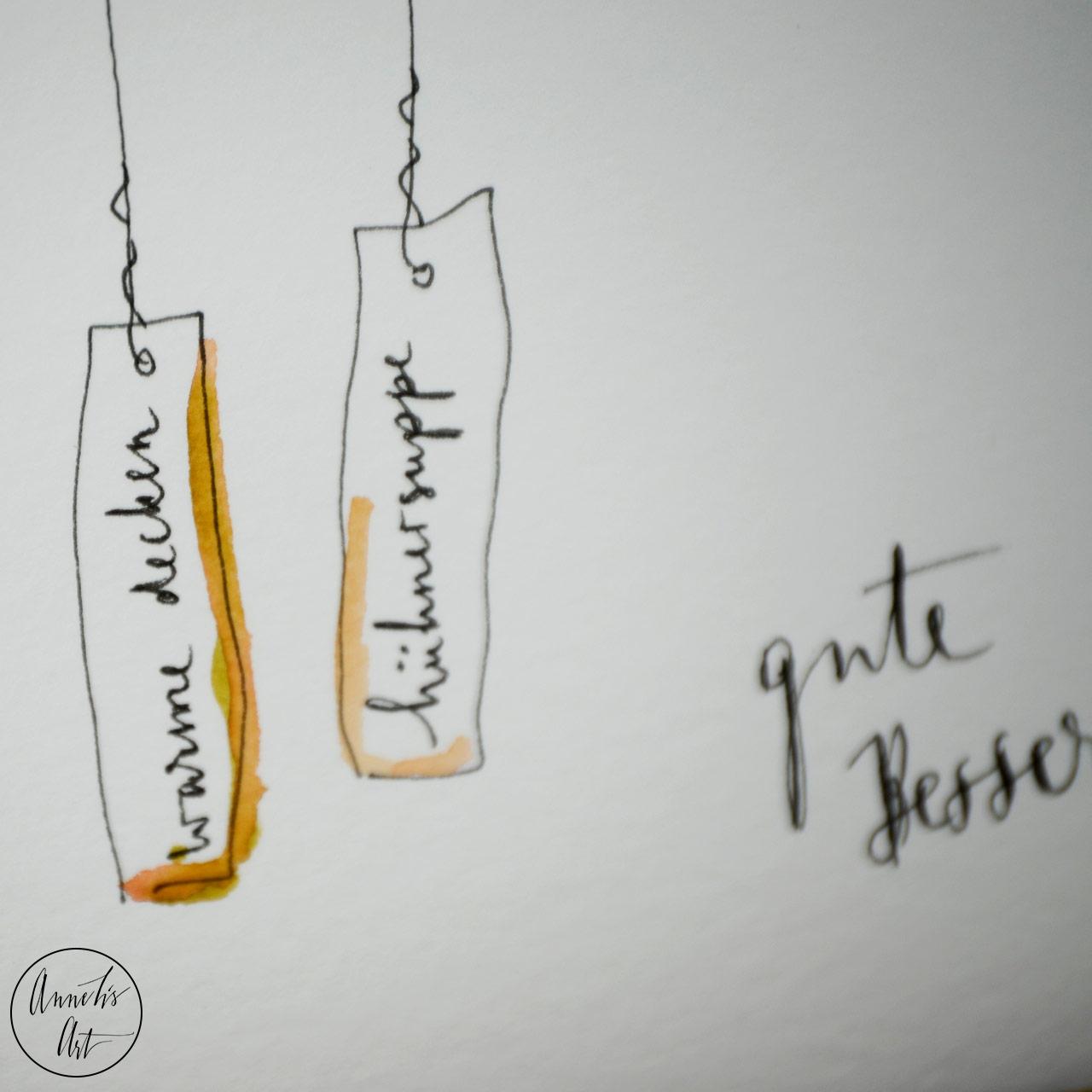 Grußkarte | Klappkarte mit Umschlag - Gute Besserung, Drahtanhänger