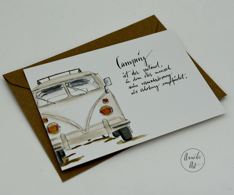 Postkarte | Bulli | Camping als Zustand