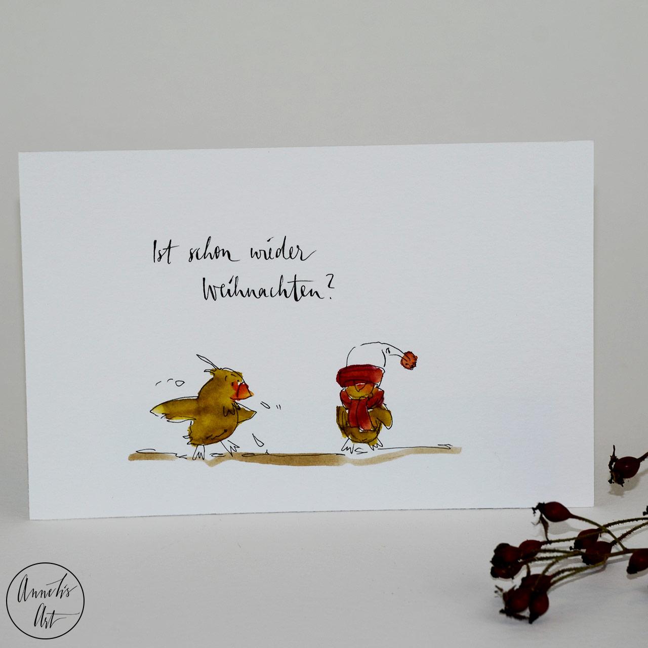 Weihnachtskarte - Schon wieder Weihnachten?   Grußkarte   Klappkarte mit Umschlag