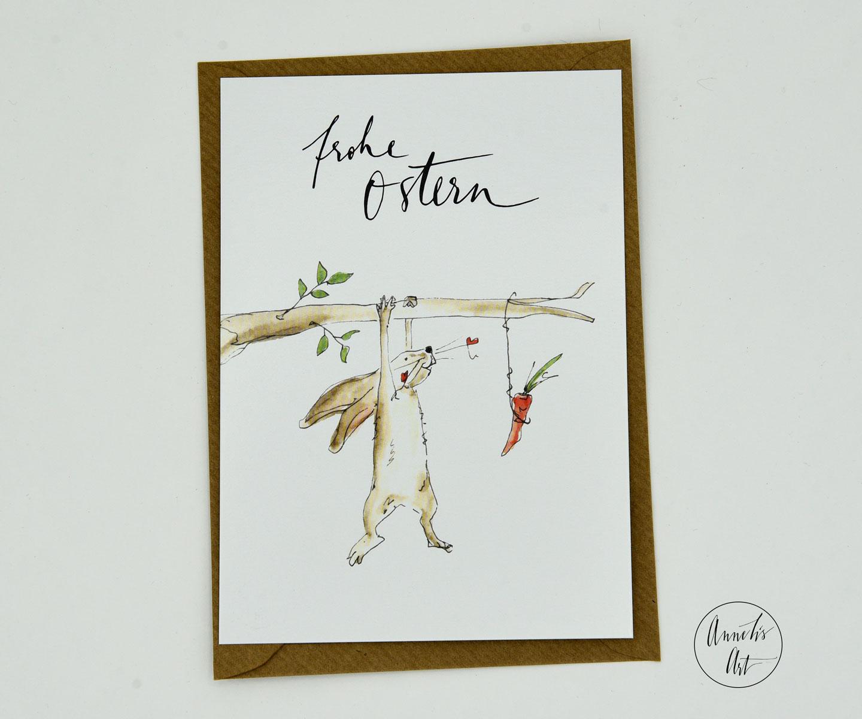 Postkarte | Osterkarte | Hängender Hase mit seiner Karotte