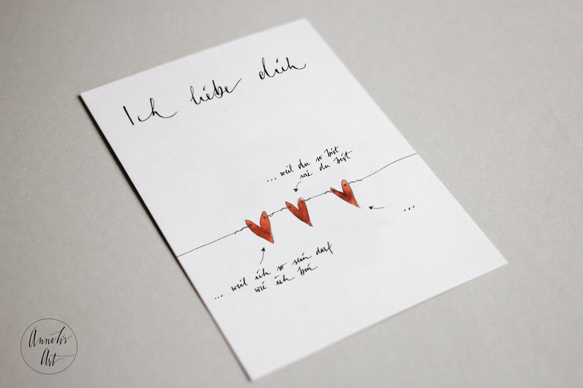 Postkarte | Ich liebe dich