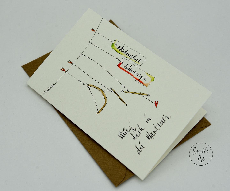Personalisierte Grußkarte zur Geburt   Stürz dich in die Abenteuer   dein Schriftzug, deine Farben