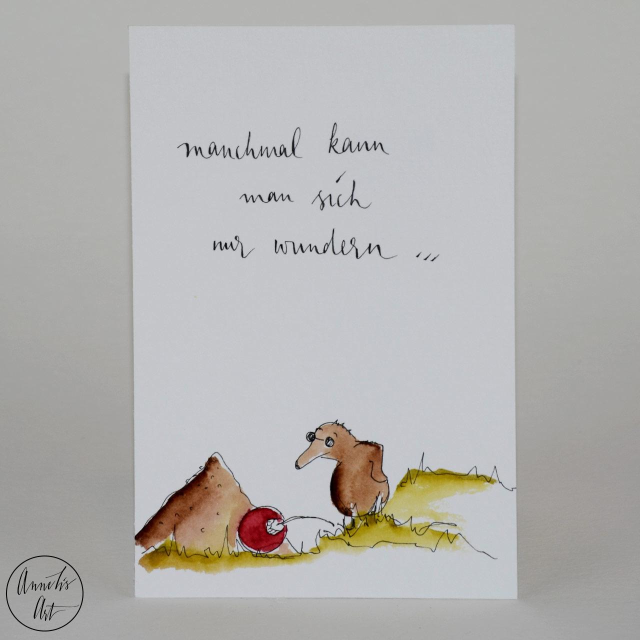 Weihnachtskarte - Maulwurf vor einer Christkugel   Grußkarte   Klappkarte mit Umschlag