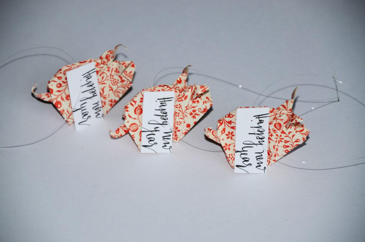 Origami-Glücksschweine zu Silvester, 3er-Set