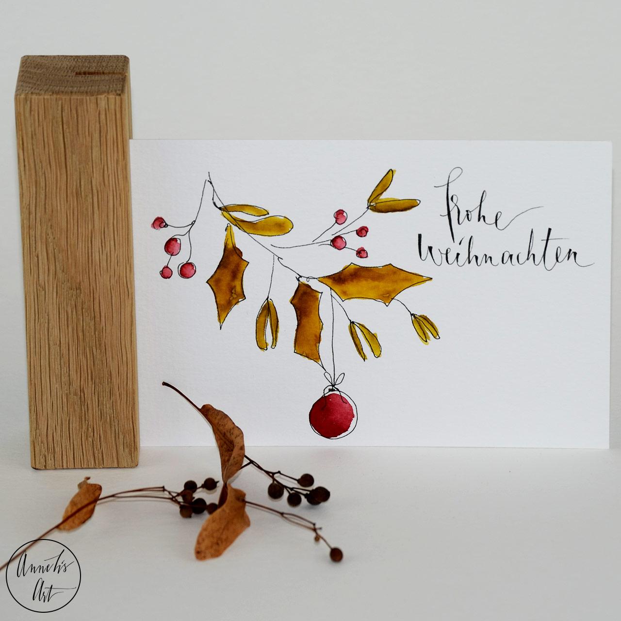 Weihnachtskarte - Weihnachtszweige | Klappkarte | Grußkarte mit Umschlag
