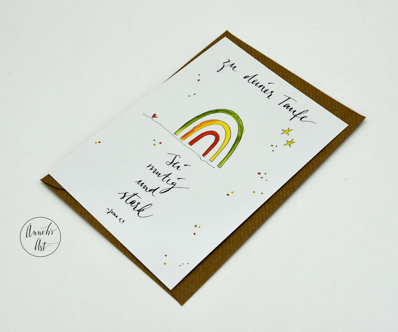 Postkarte | Taufe | Karte mit Regenbogen und Spruch