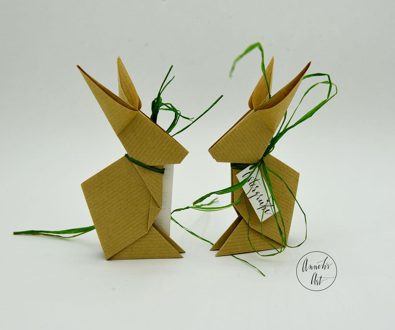 Origami-Osterhasen   2er-Set   15 cm   braungeripptes Kraftpapier   deine individuellen Schriftzüge
