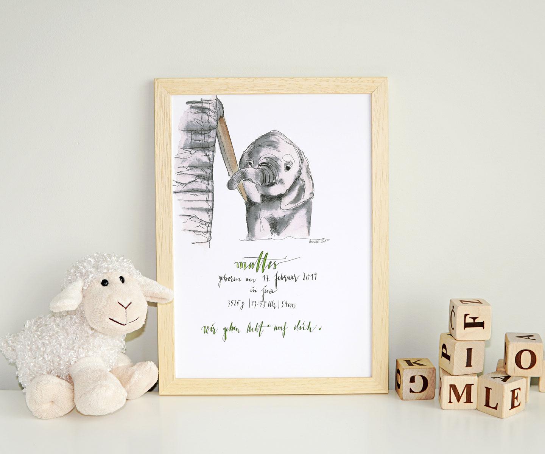 Geburtsanzeige mit kleinem Elefant