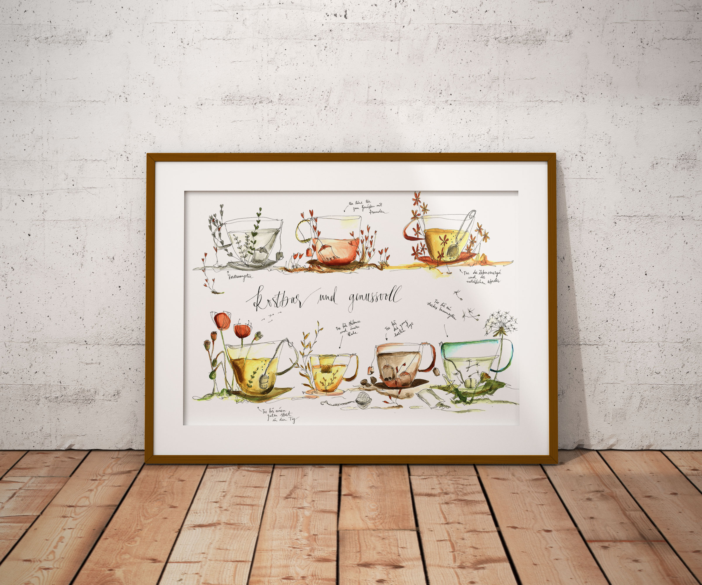 Wandbild für Teeliebhaber - Teeselektion