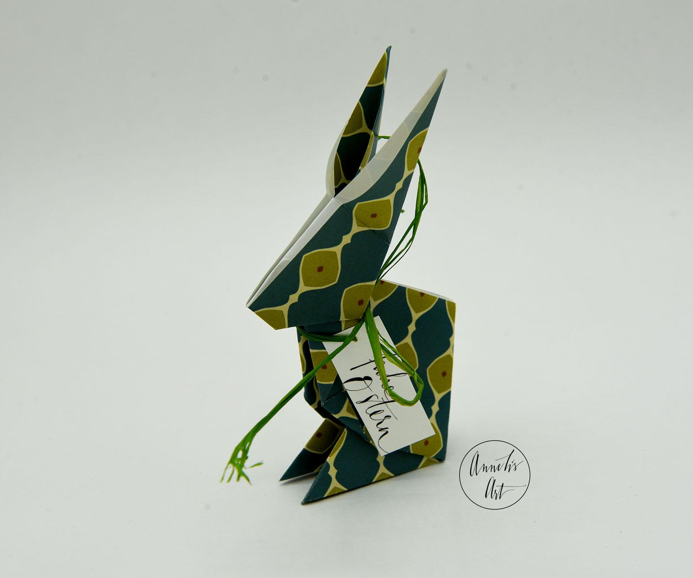 Origami-Osterhase | 15 cm | Alma blau grün | dein individueller Schriftzug