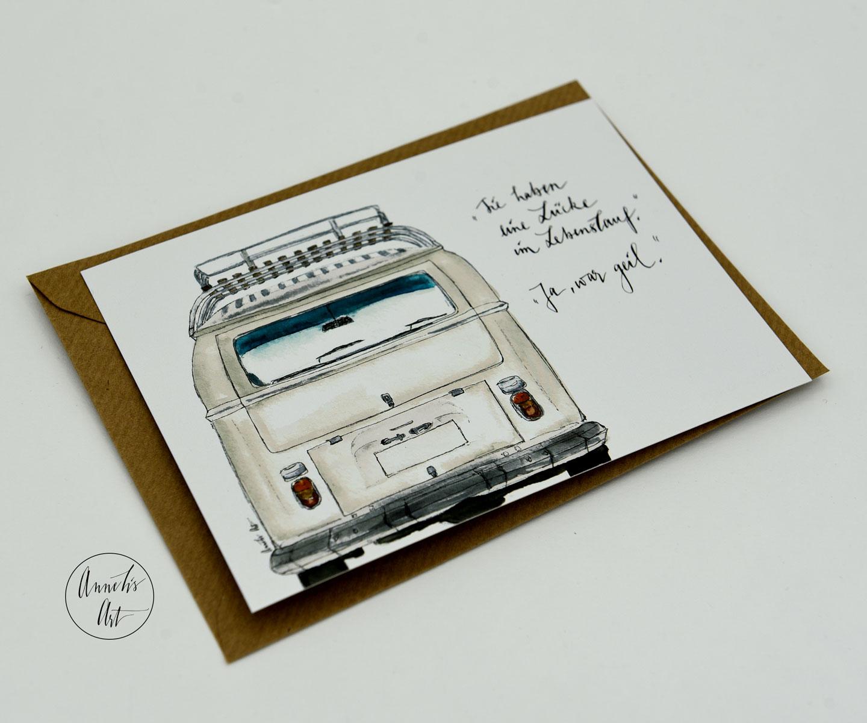 Postkarte Lücke im Lebenslauf wegen Bulli