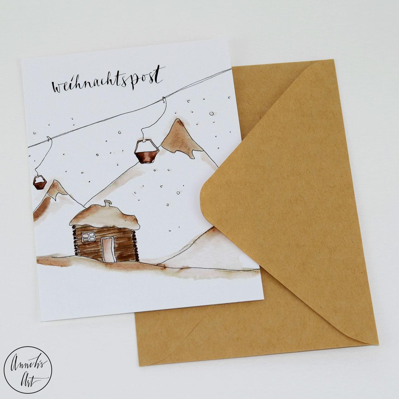 Postkarte | Weihnachtskarte | Blockhütte und Skilift