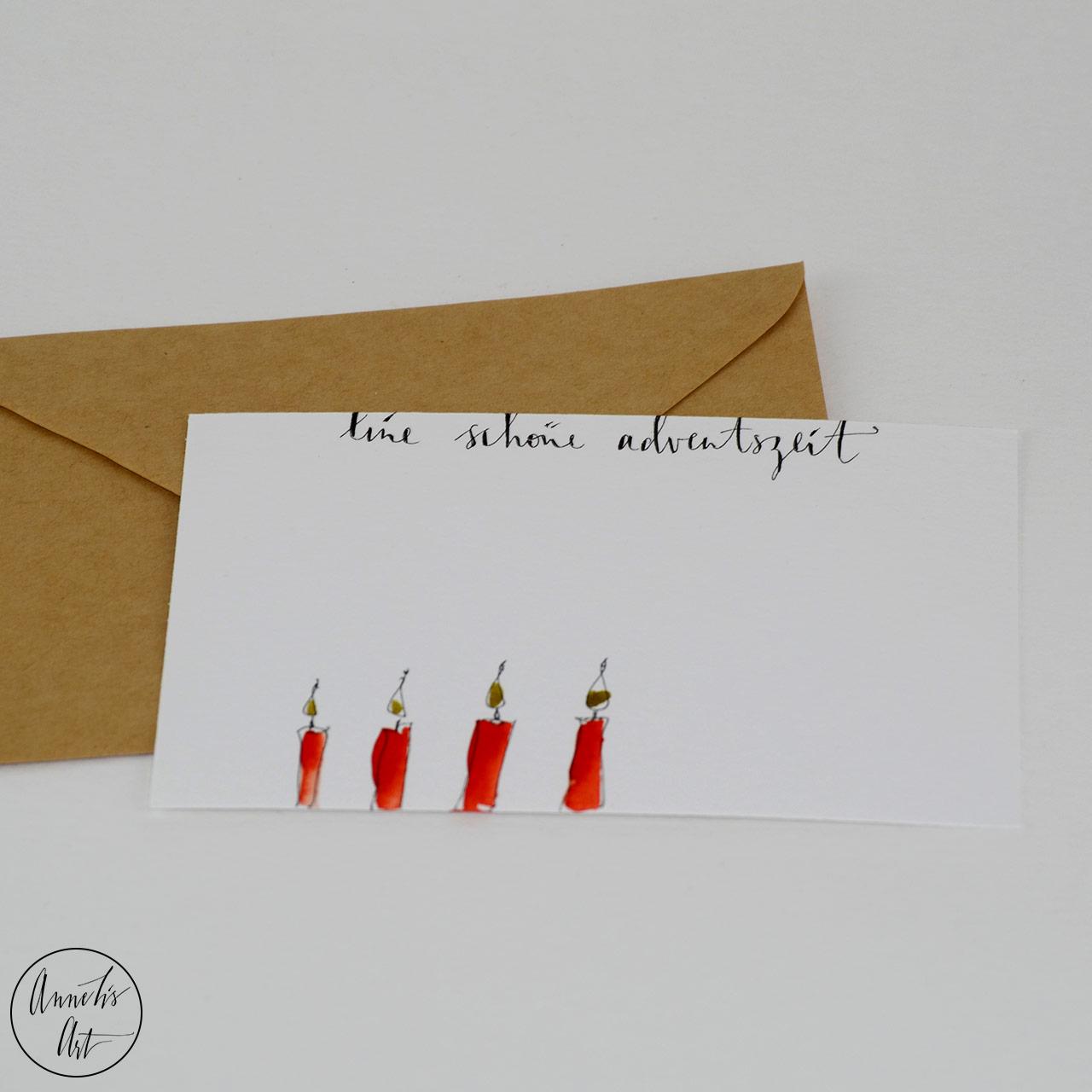 Weihnachtskarte - Vier rostrote Adventskerzen   Grußkarte   Klappkarte mit Umschlag