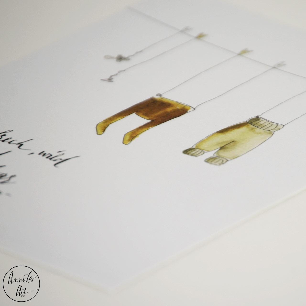 Postkarte zur Geburt  - Sei frech und wild und wunderbar, Astrid Lindgren
