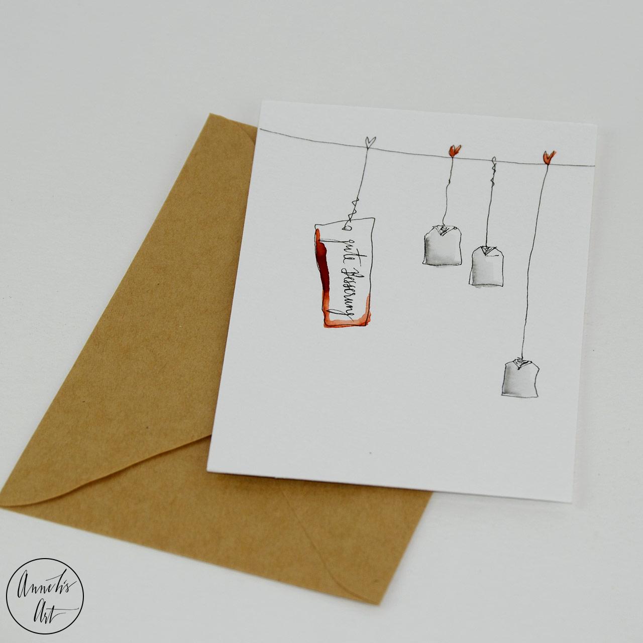Grußkarte   Klappkarte - Gute Besserung, Teebeutel
