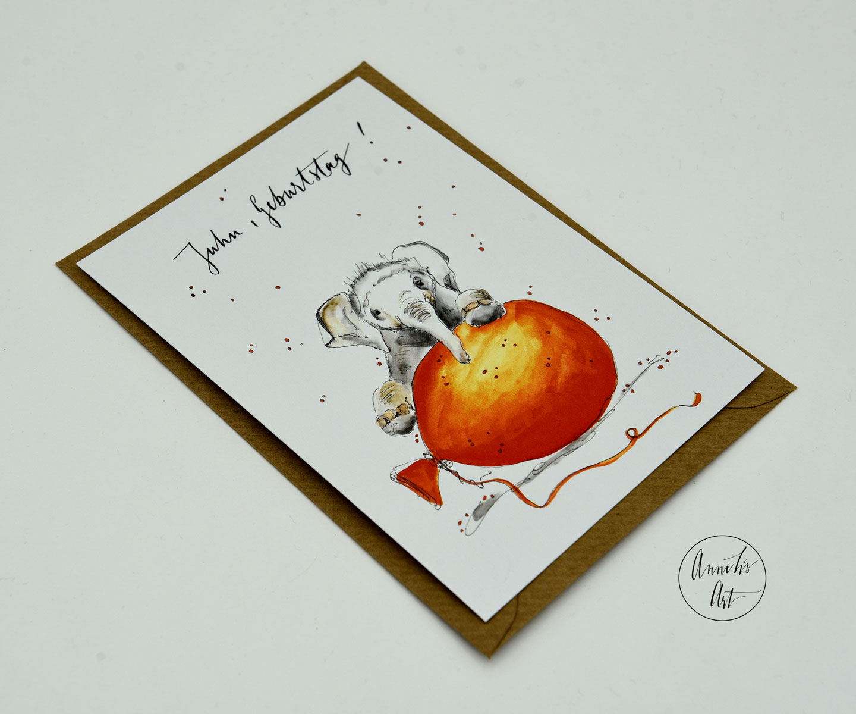 Postkarte | Juhu, Geburtstag! | Elefant mit Ballon | Geburtstagskarte