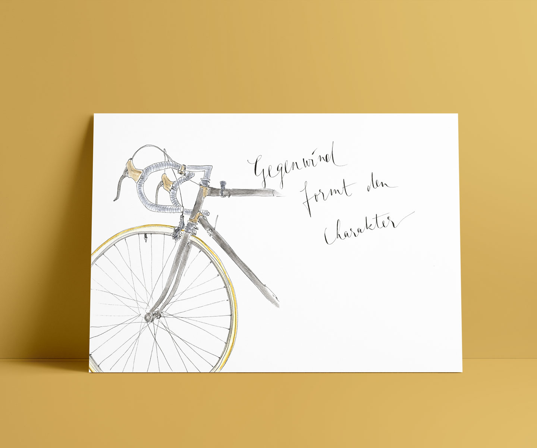 Original Aquarell | individuelles Wandbild Motiv RENNRAD 3