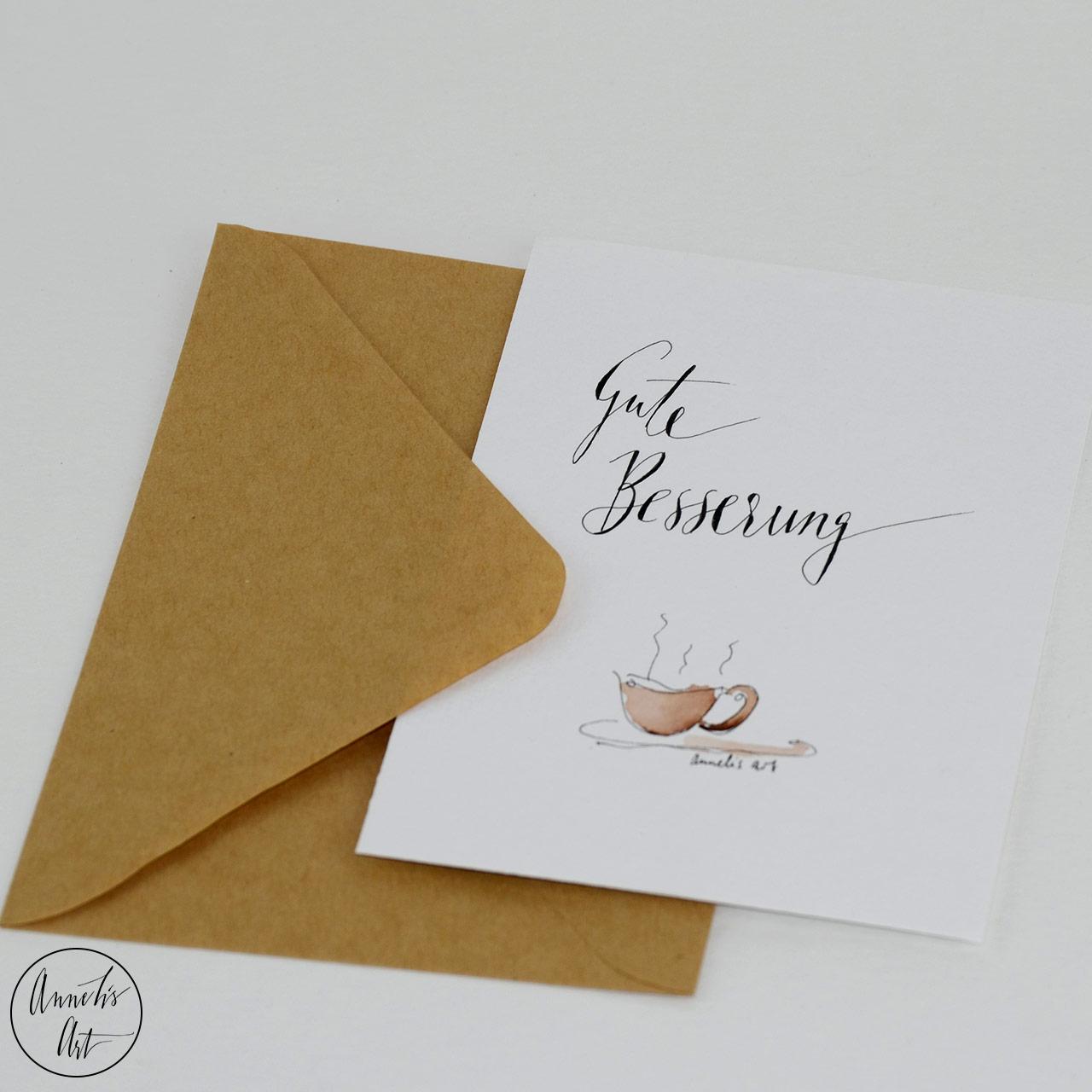 Grußkarte | Klappkarte mit Umschlag - Gute Besserung, Teetasse