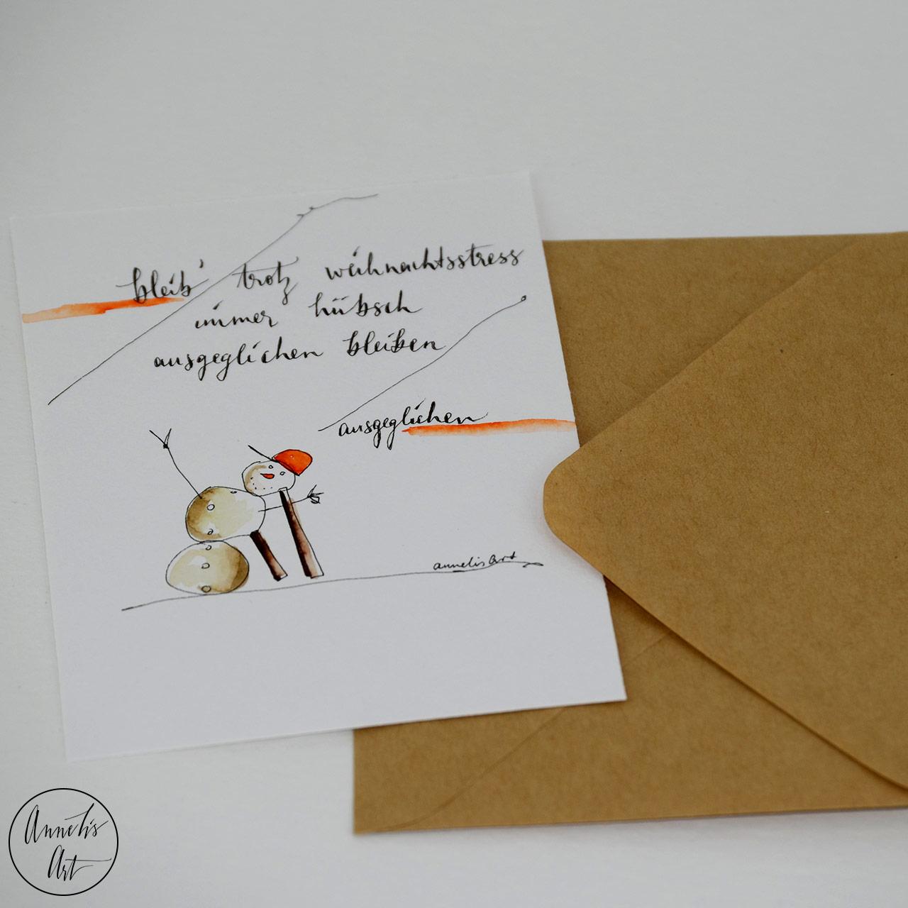 Weihnachtskarte - Ausgeglichen trotz Weihnachtsstress | Grußkarte | Klappkarte mit Umschlag