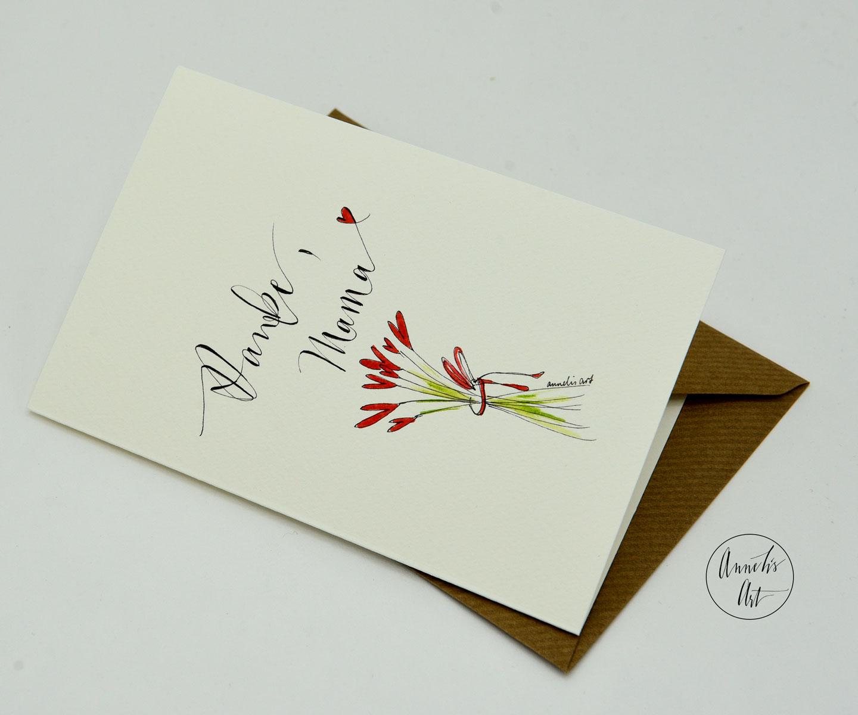 Personalisierte Grußkarte zum Muttertag   handgefertigt   Danke, Mama!