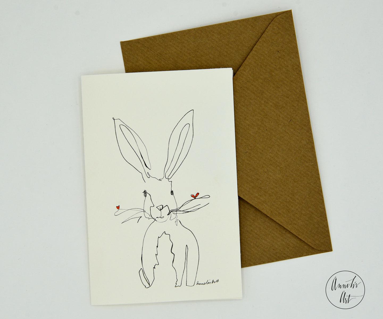 Grußkarte mit Umschlag | one-line drawing Osterhase | Osterkarte