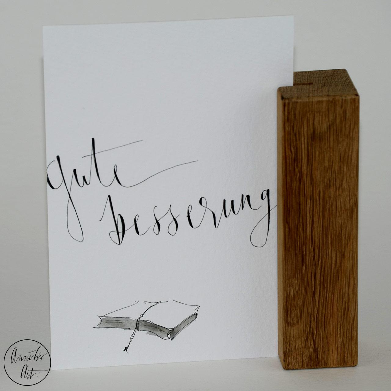 Grußkarte | Klappkarte mit Umschlag - Gute Besserung, mit Buch
