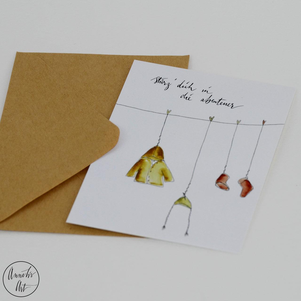 Postkarte zur Geburt   Grußkarte - Stürze dich in die Abenteuer