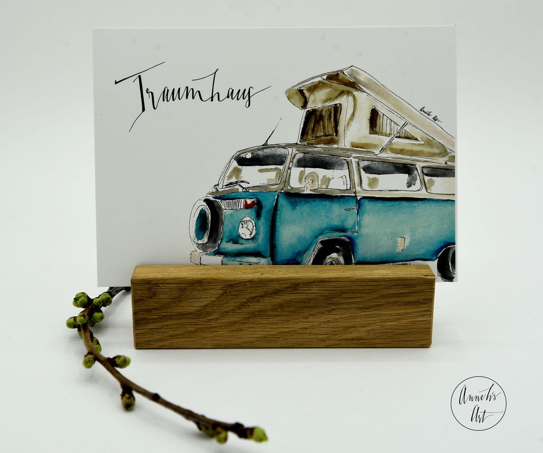 Postkarte | Bulli mit Aufstelldach | Traumhaus
