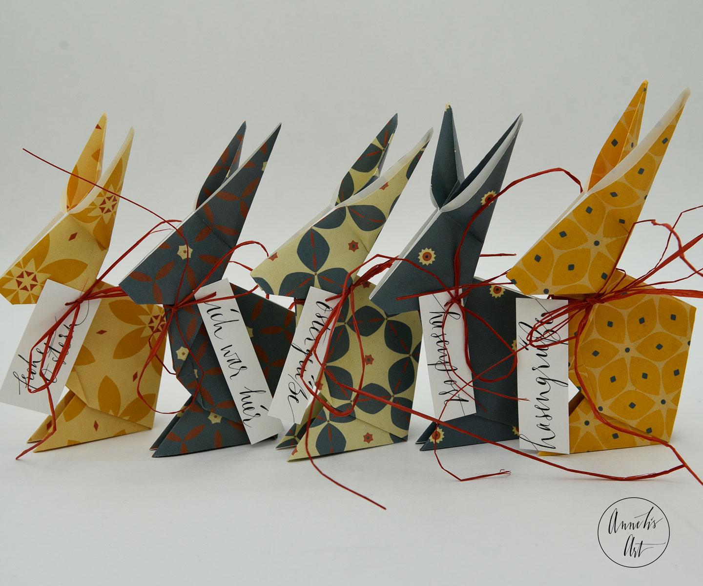 Origami-Osterhasen | 5er-Set | 15 cm | deine individuellen Schriftzüge | Jackie