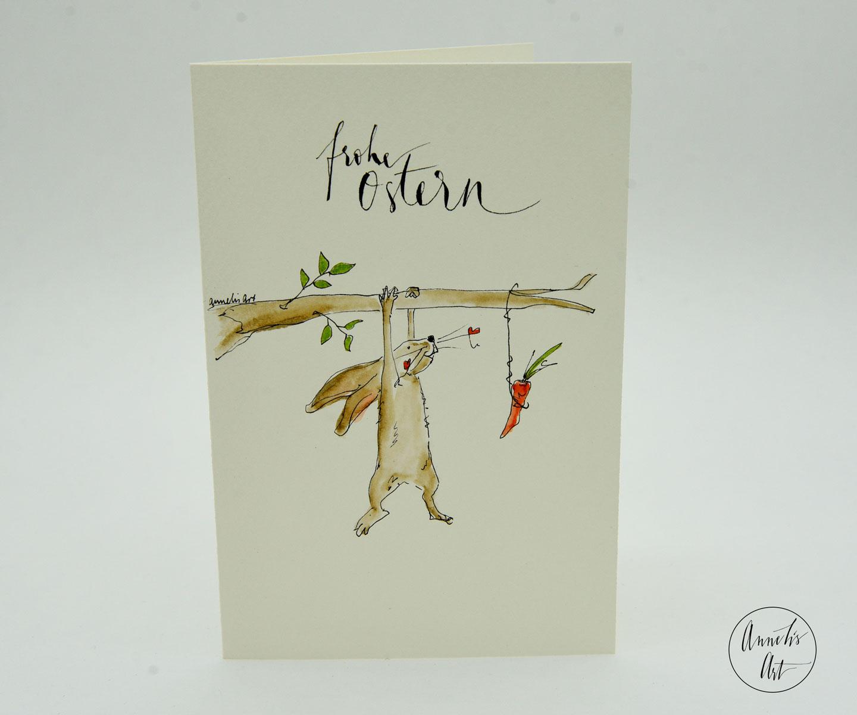 Grußkarte mit Umschlag | Hängender Hase mit Karotte | Osterkarte