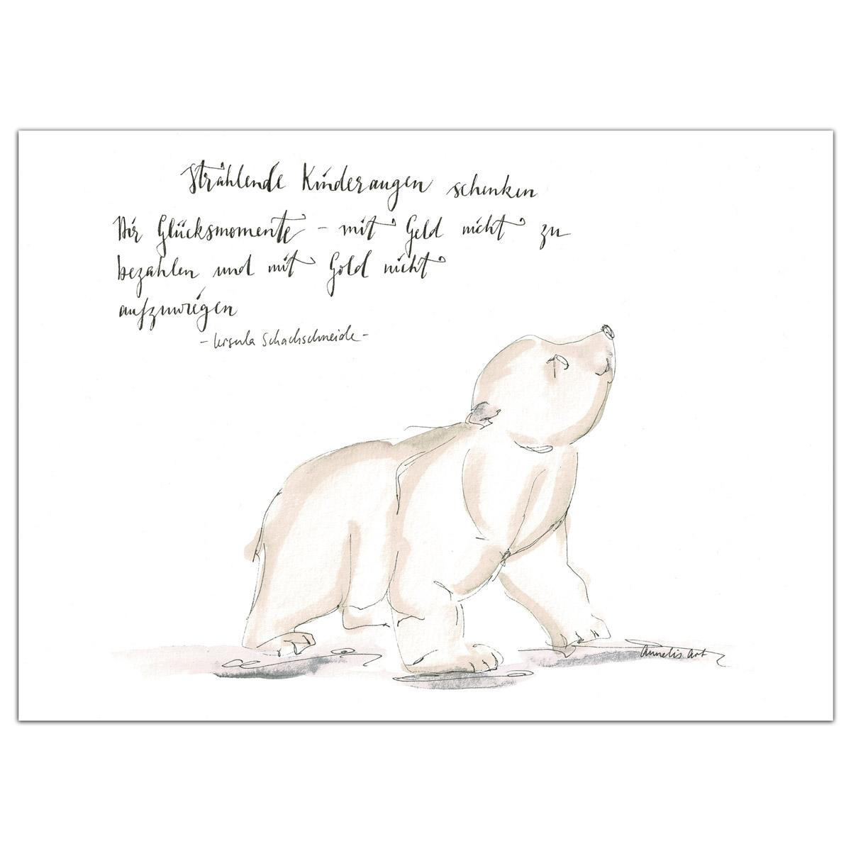Original Aquarell für das Kinderzimmer, Kleiner Eisbär