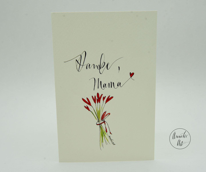 Personalisierte Grußkarte zum Muttertag | handgefertigt | Danke, Mama!