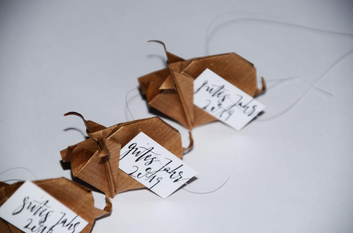 Origami-Glücksschweine zu Silvester, gutes neues Jahr, 3er-Set