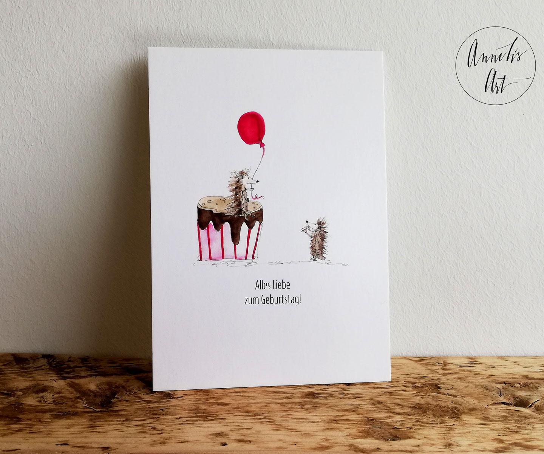 Postkarte | Alles Liebe zum Geburtstag | Igel und Torte | Geburtstagskarte