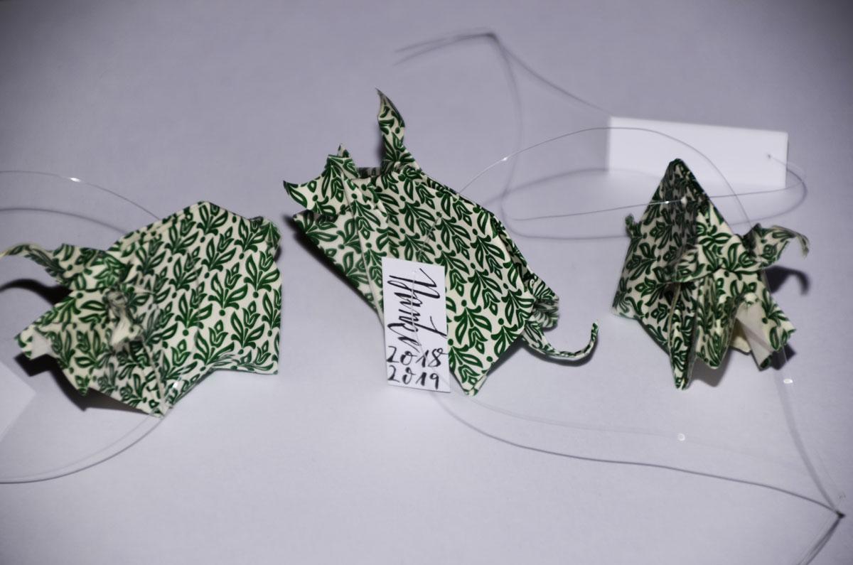 Origami-Glücksschweine zu Silvester, Danke 18/19, 3er-Set