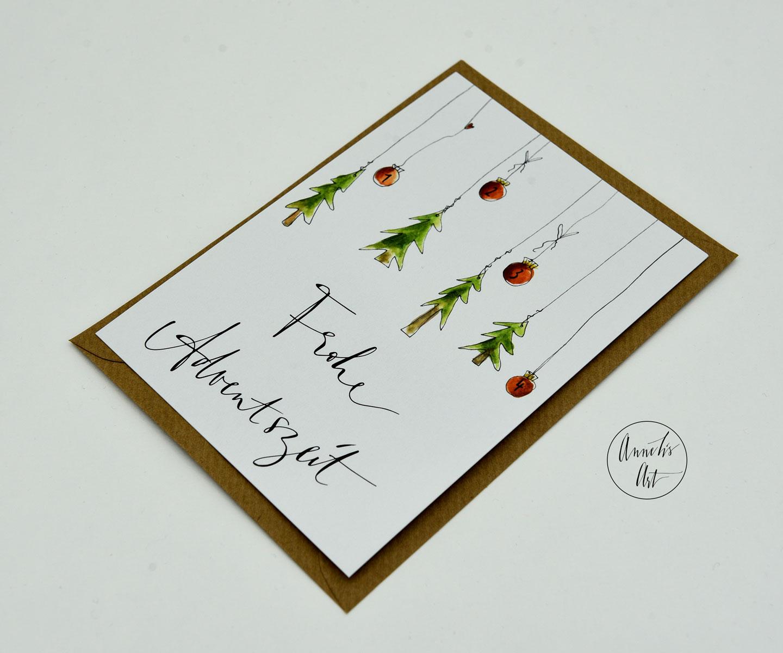 Adventskarte Frohe Adventszeit mit Umschlag