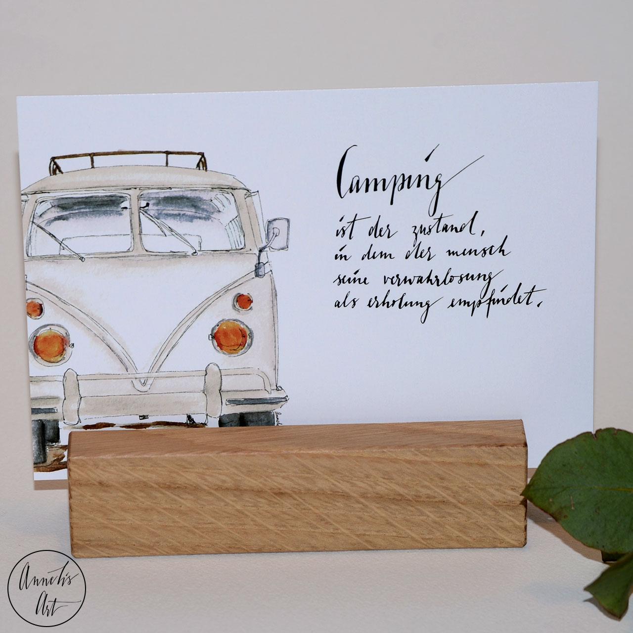 Postkarte   Bulli   Camping als Zustand