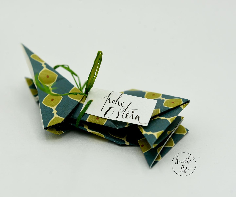 Origami-Osterhase   15 cm   Alma blau grün   dein individueller Schriftzug