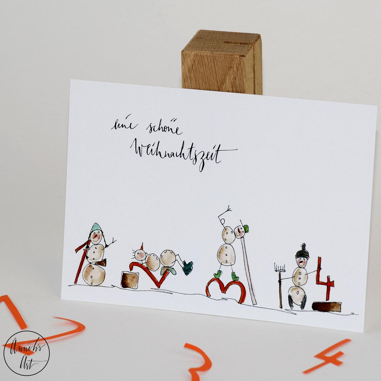 Postkarte | Weihnachtskarte | Schöne Weihnachtszeit Schneemänner