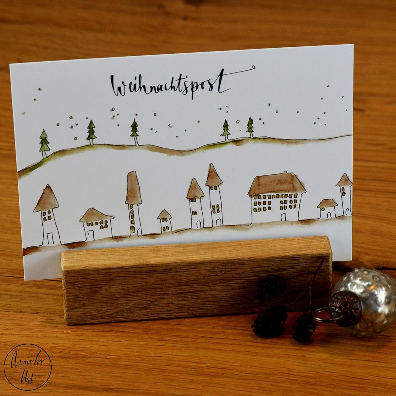Postkarte   Weihnachtskarte   Stadt und Wald im Winter