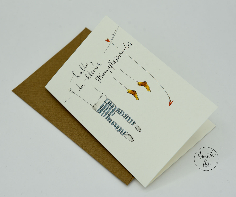 Personalisierte Grußkarte zur Geburt   dein Schriftzug, deine Farben   Hallo, du kleiner Strumpfhosenrocker