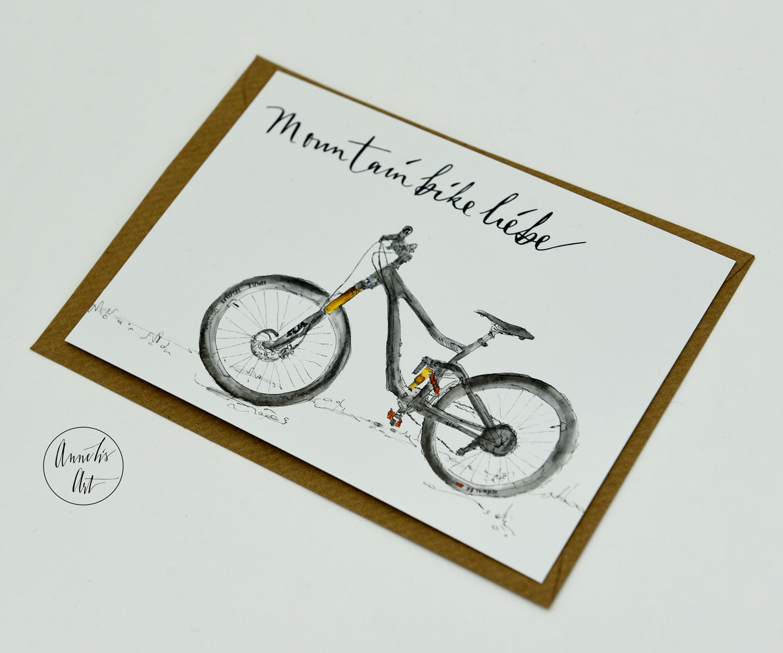Postkarte für Mountainbiker mit Umschlag