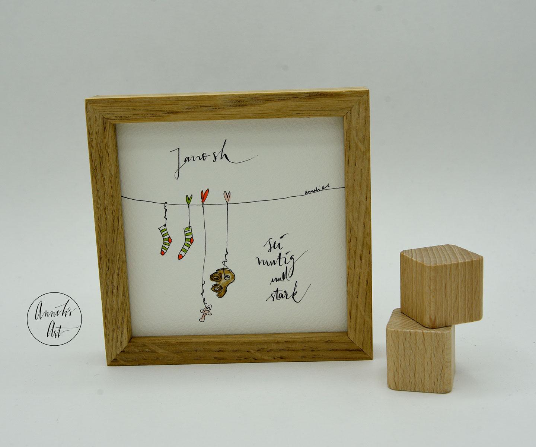 Quaddies | Sei mutig und stark | Kleines Geschenk zur Geburt oder Taufe | Miniwandbild