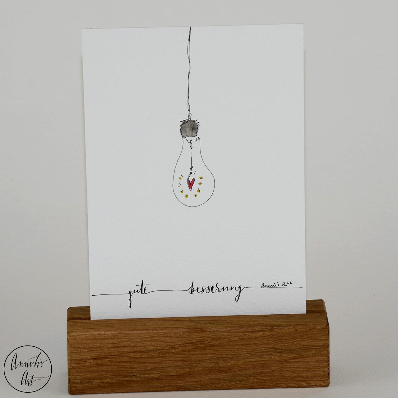 Grußkarte | Klappkarte mit Umschlag - Gute Besserung, gefüllte Glühbirne